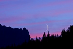 waxing crescent sunset sky